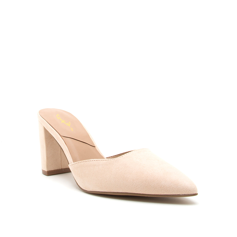 Hollyn - Nude Low Block Heel Pumps
