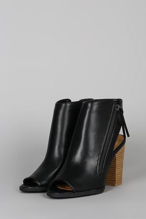 Malibu- Black Peep Toe Booties