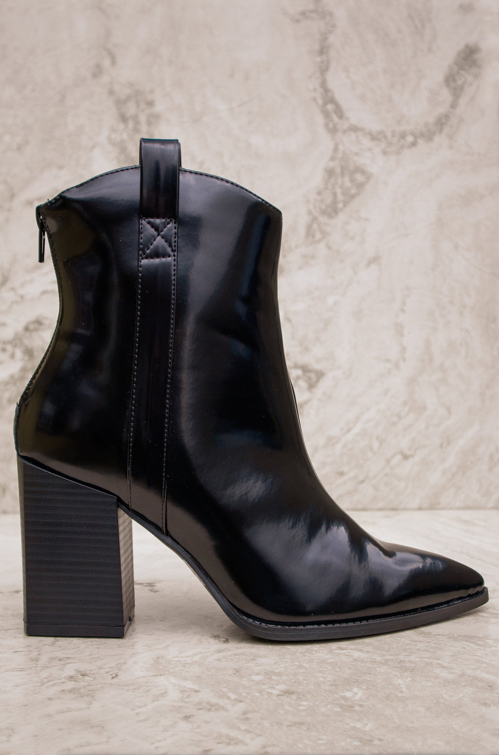Most Wanted - Black Western Square Heel Booties