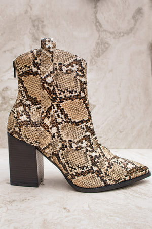 Most Wanted - Snake Western Square Heel Booties