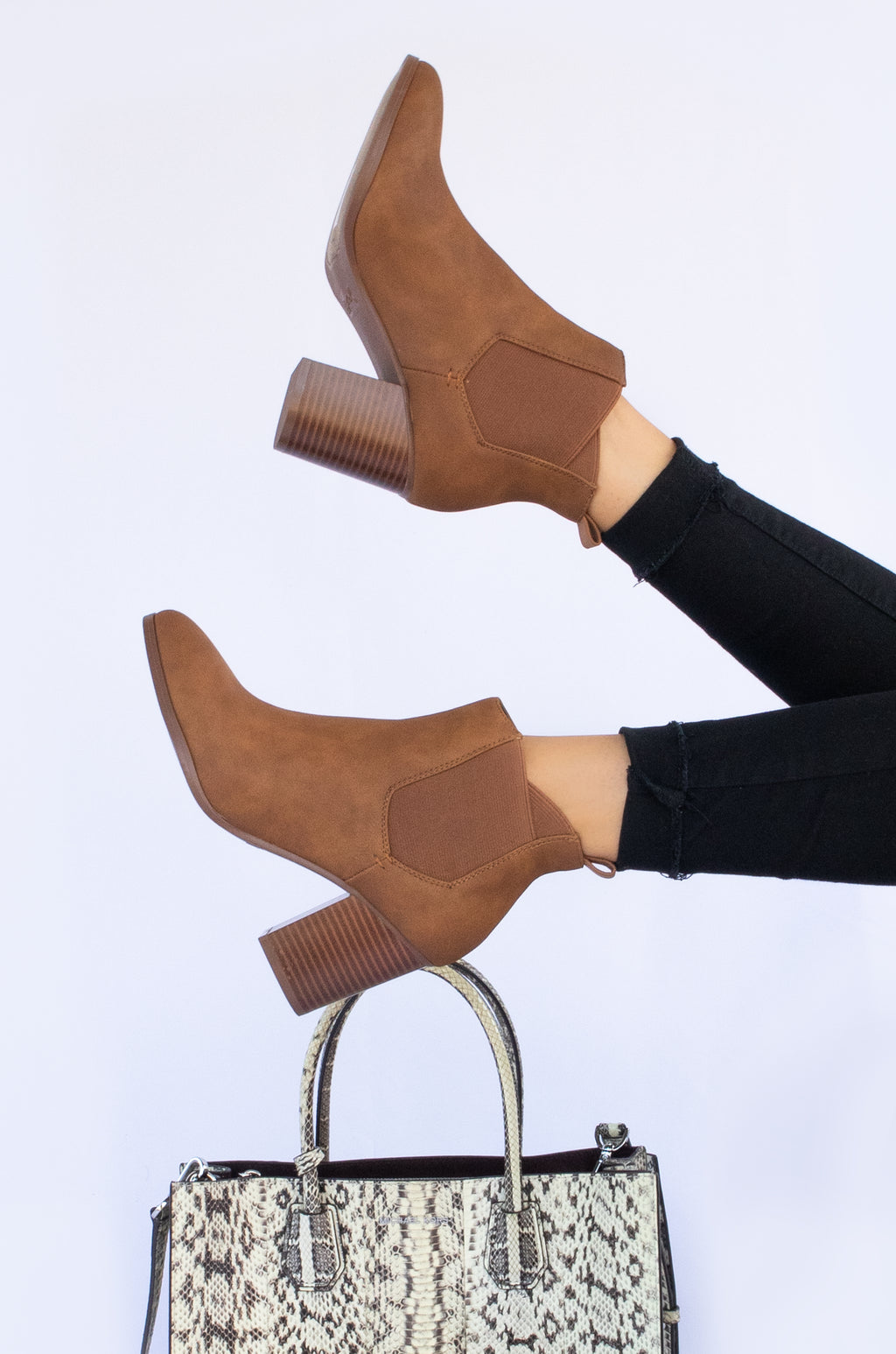No Boundaries - Cognac Chunky Heel Booties