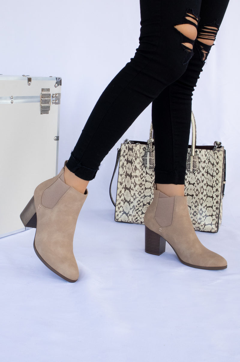 No Boundaries - Warm Taupe Chunky Heel Booties