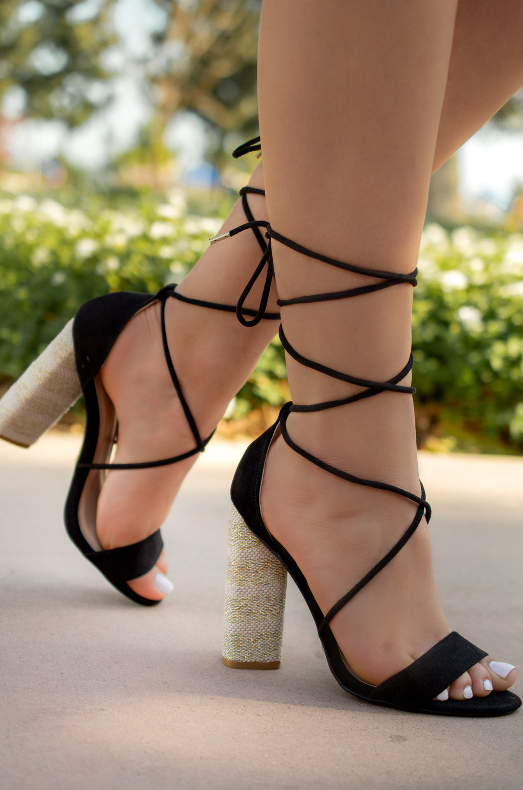 No Strings Attached - Black Lace Up Heels