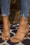 On My Mind - Sand Toe Ring Strappy Heels