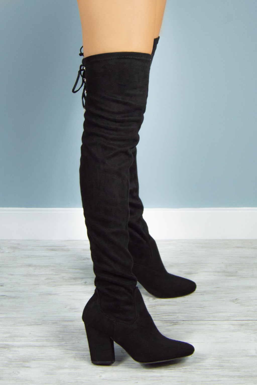 On Time - Black Over the Knee Boots