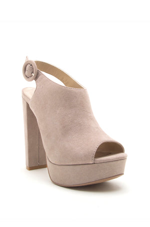 Pure Heart - Taupe Slingback Platforms