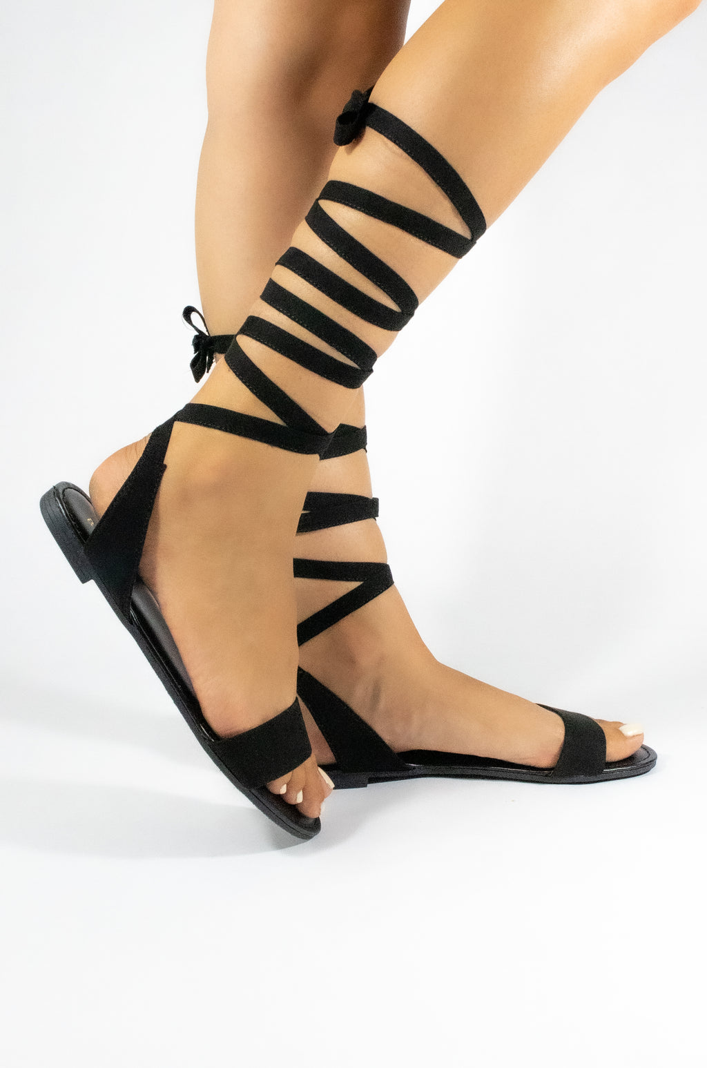 Queen Bee - Black Lace Up Sandals