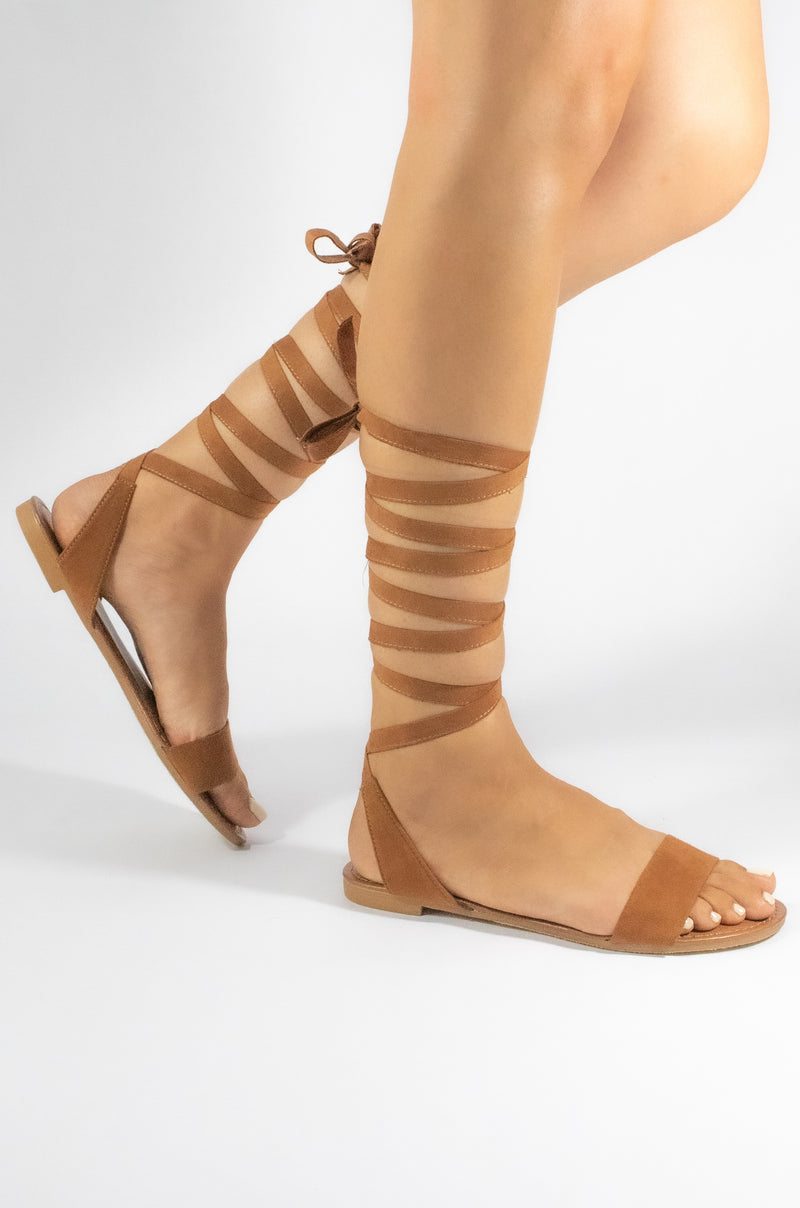 Queen Bee - Camel Lace Up Sandals