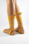 Queen Bee - Mustard Lace Up Sandals