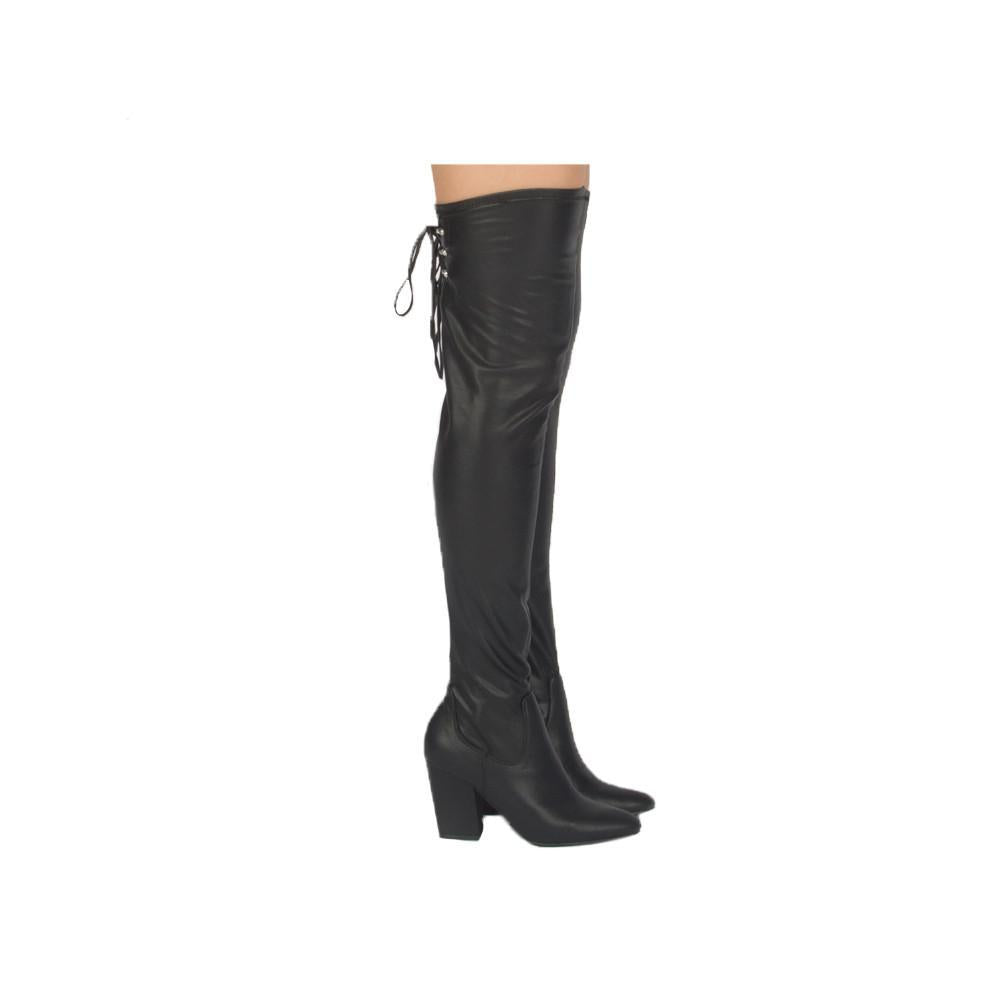 On Time - Black Stretch Over the Knee Boots