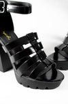 Rebel Gal - Black Lug Sole Platform Heels