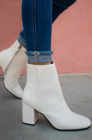 Reign - Off White Block Heel Ankle Booties