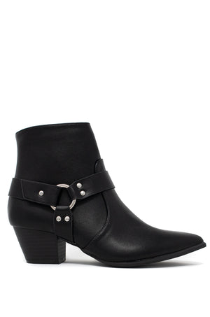 Rouge - Black Ankle Harness Booties