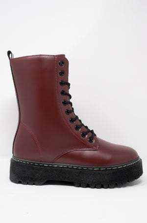 Rumor Has It - Burgundy Combat Boots
