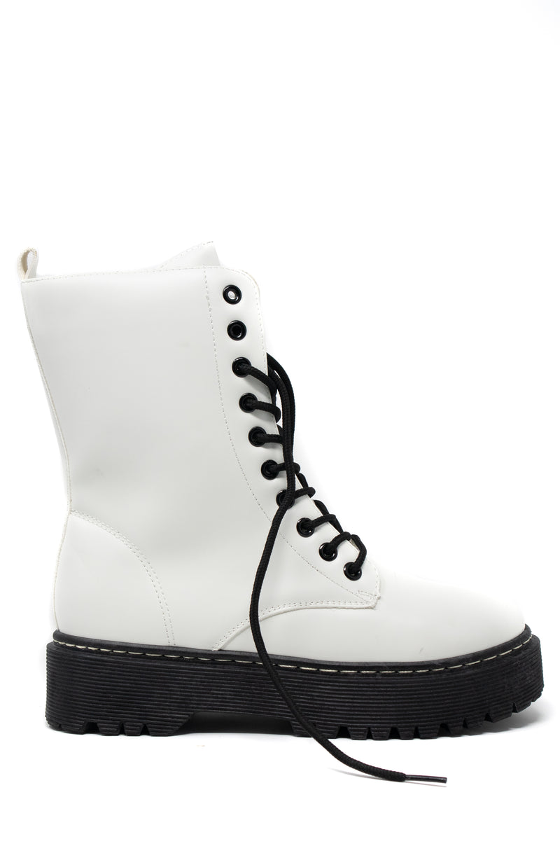 Rumor Has It - White Combat Boots