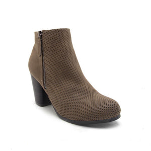 It Girl - Dark Taupe Perforated Ankle Bootie