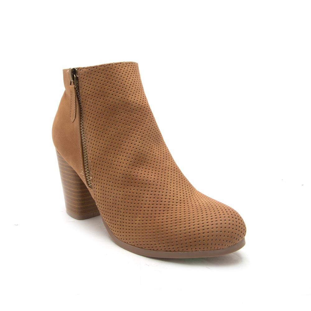 It Girl - Tan Perforated Ankle Bootie