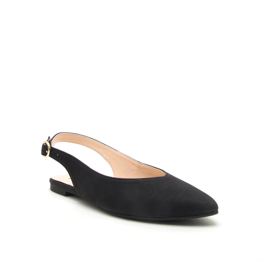 Manhattan - Black Sling Back Ballerina Flats