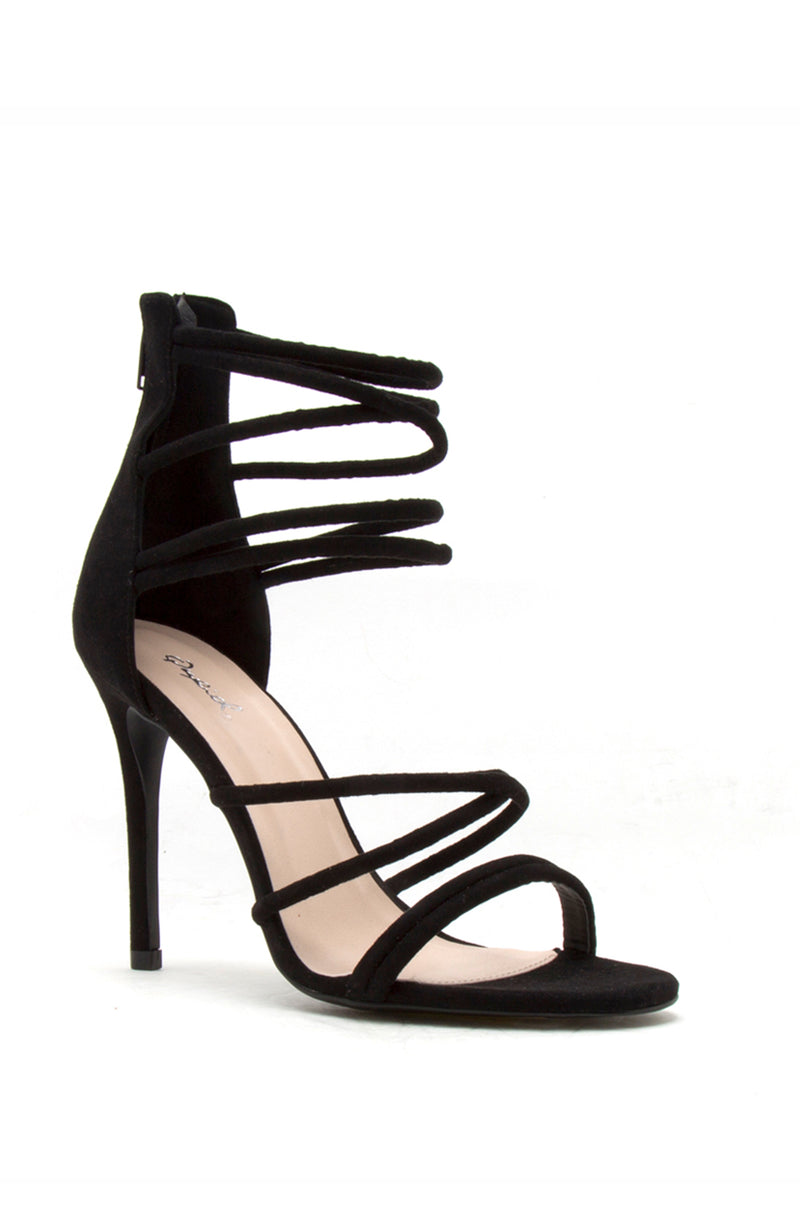 Second Chance - Black Strappy Stiletto Heels