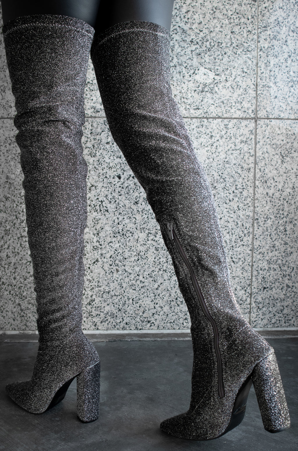 Show Stopper - Pewter Stretch Thigh High Boots