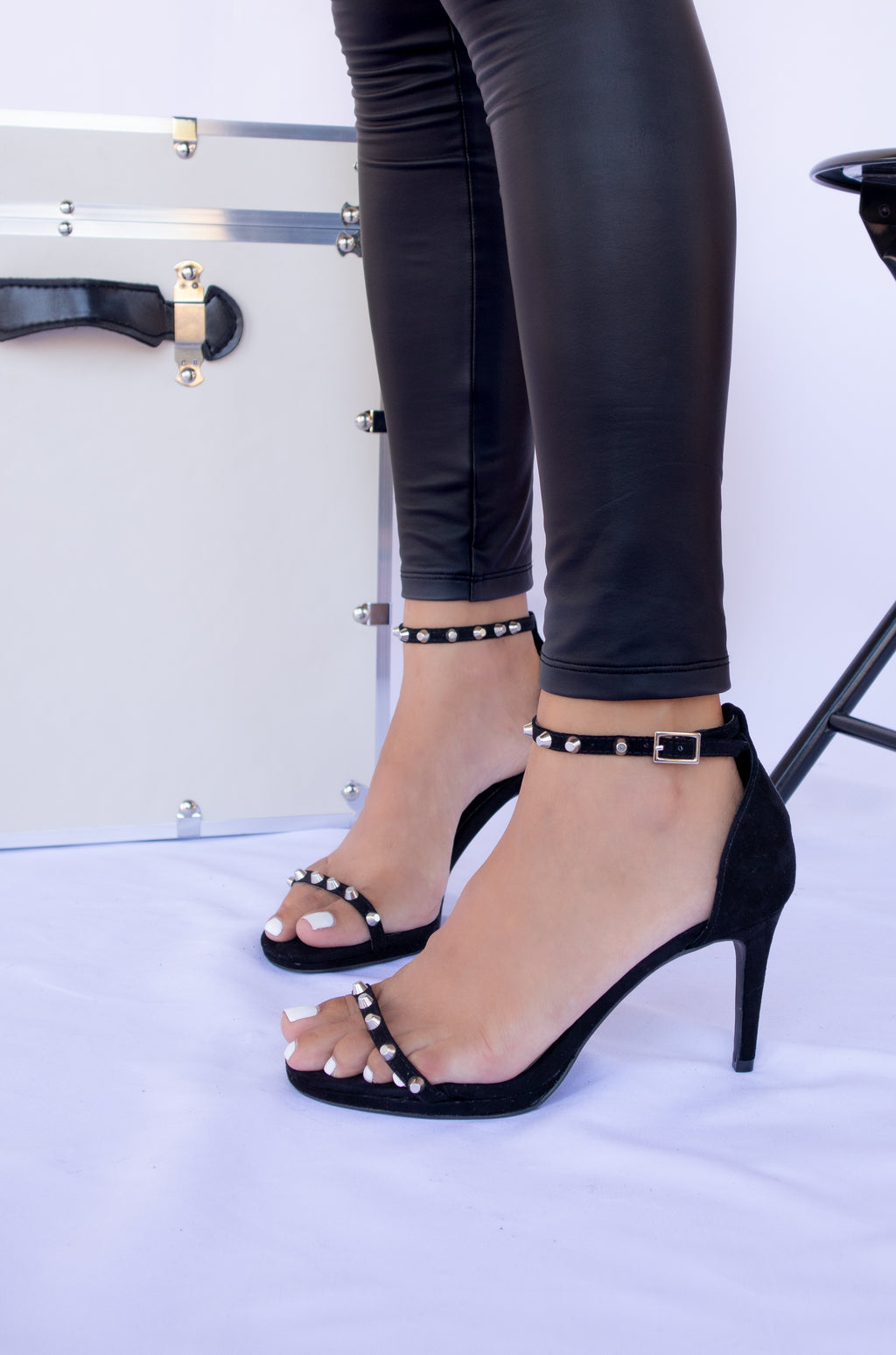 Shy Wilder - Black Studded Mid Heels