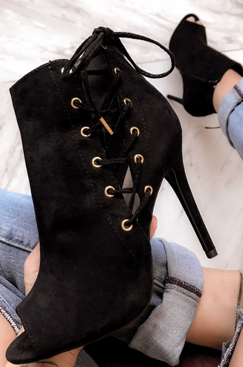 Slay Nite - Black Corset Style Lace Up Bootie Heels