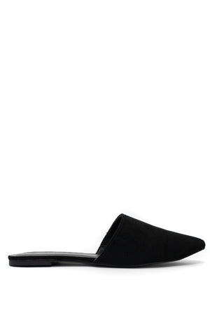 So Sophisticated - Black Pointy Mule Flats