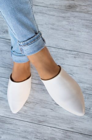 Soho - Off White Mule Flats