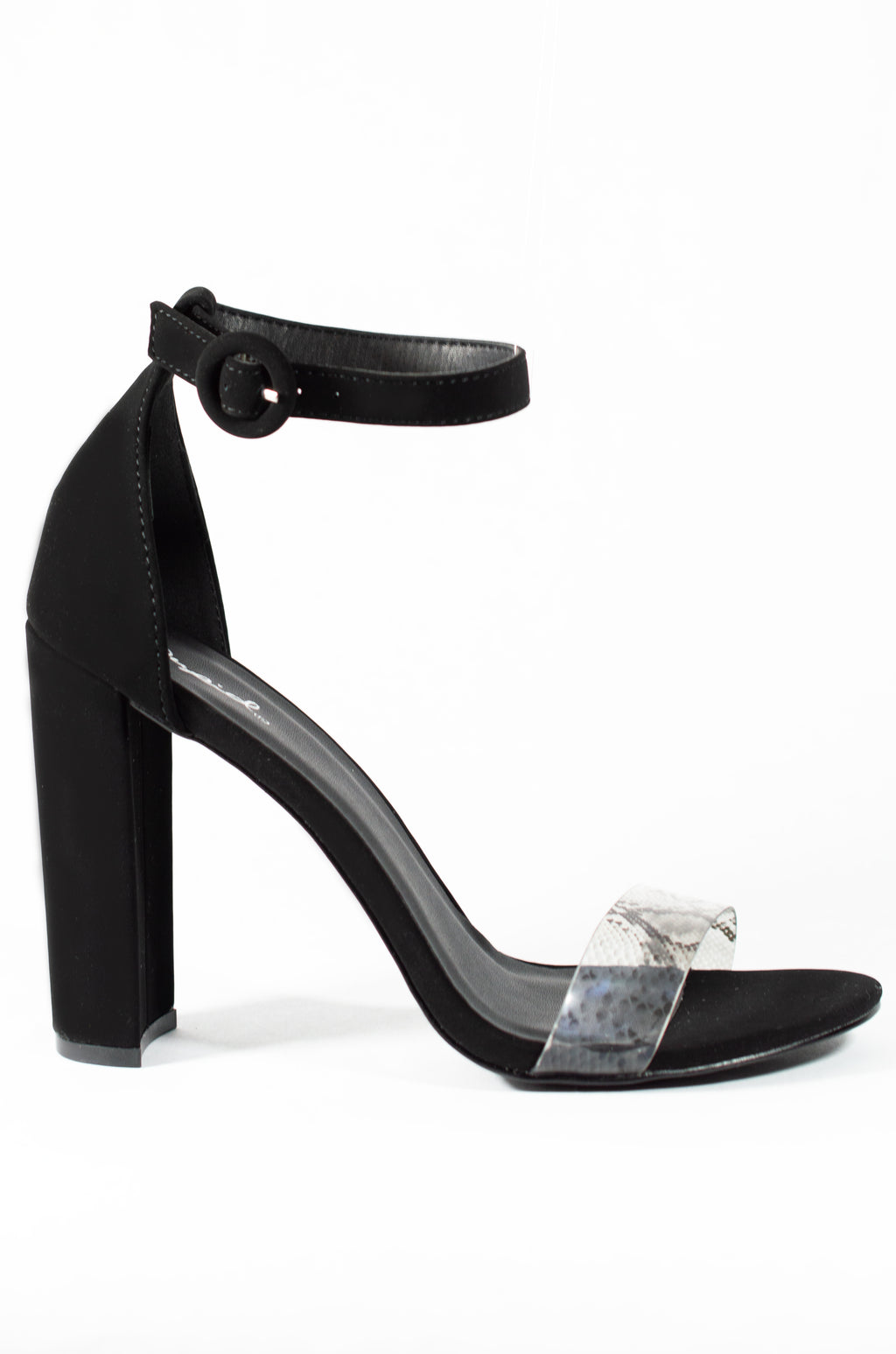 Still On Top - Black Clear Snake Heels