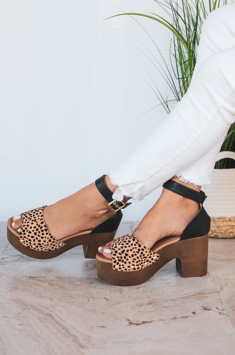 Sunday Groove - Leopard Chunky Heel Sandals