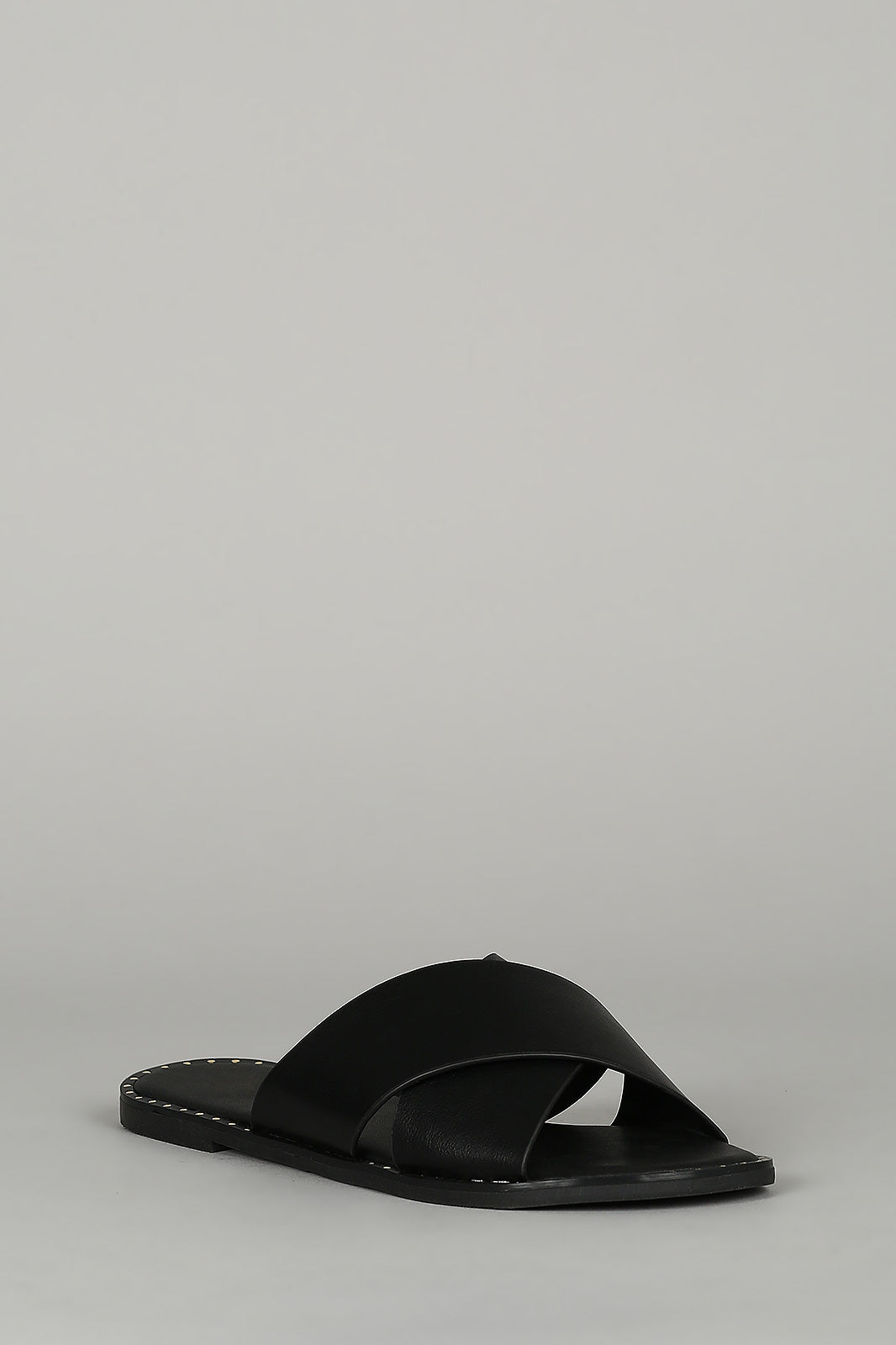 b7fb470b002 Sweet Revenge - Black Studded X-Band Slide Sandals – Iconic Fashion LA