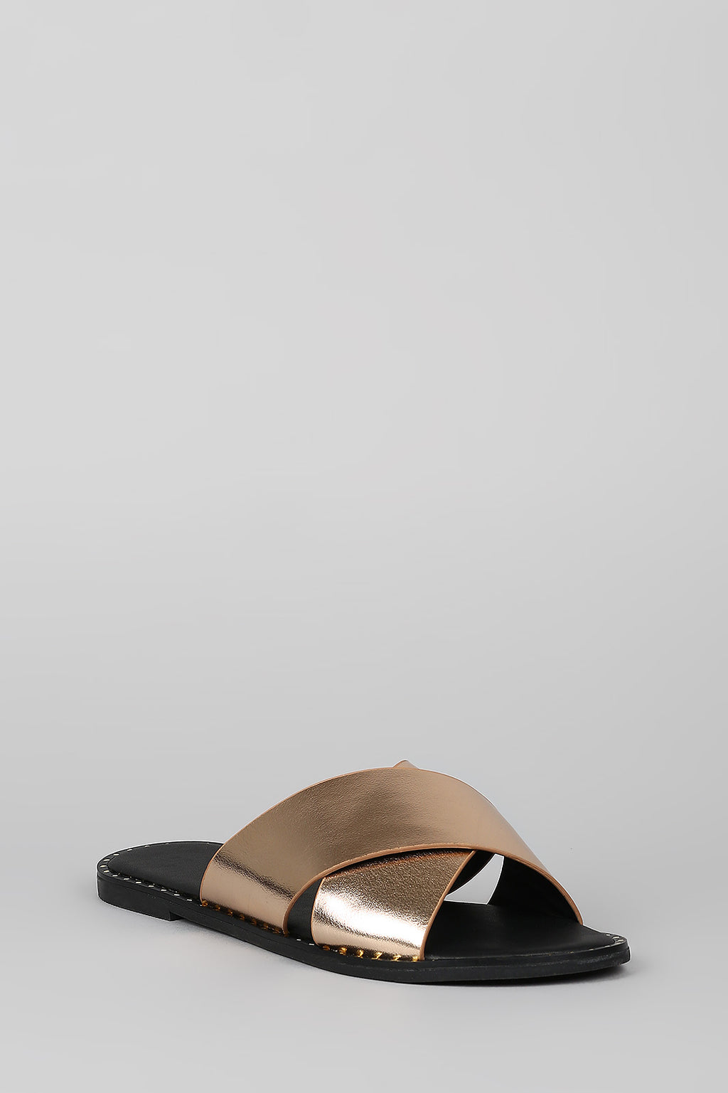 Sweet Revenge - Rose Gold Studded X-Band Slide Sandals