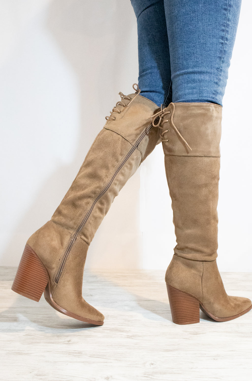 Sweet Strut - Taupe Knee High Boots