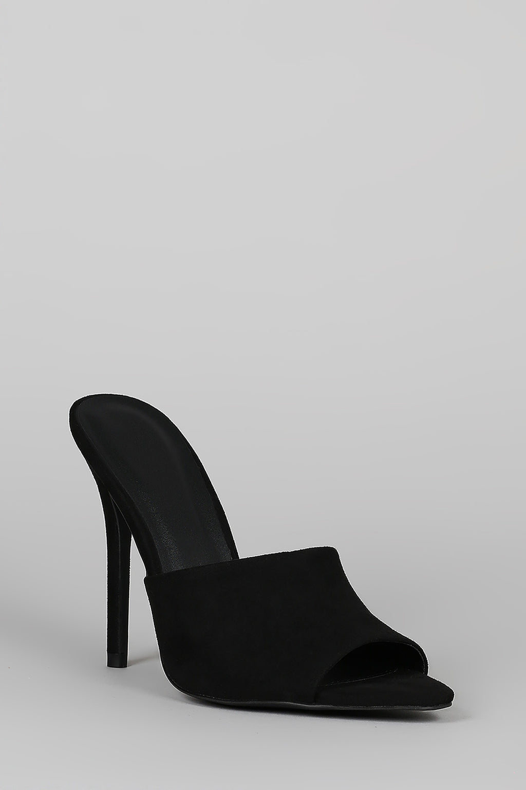 Tease Me - Black Stiletto Mule Heels