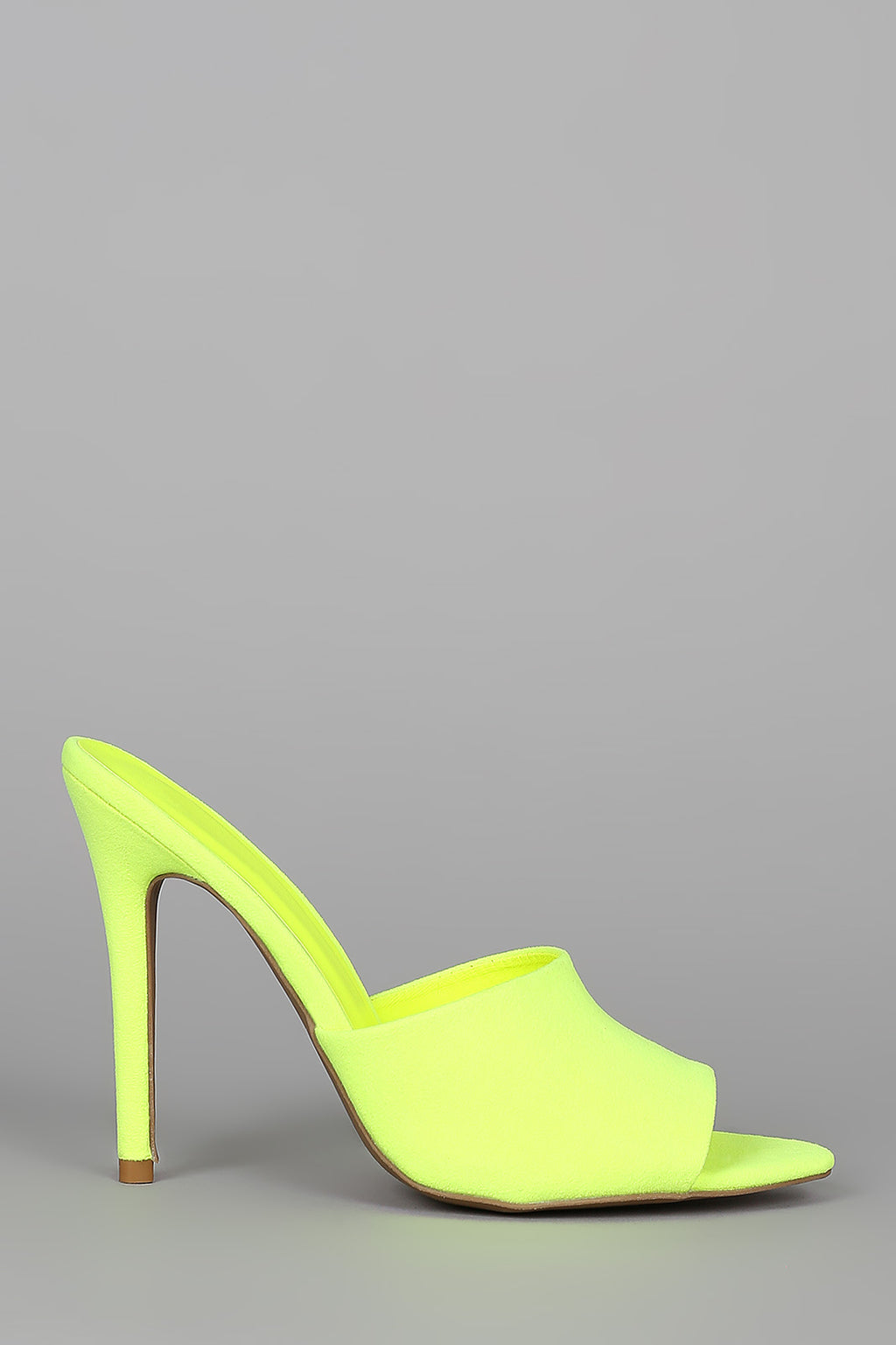 Tease Me - Neon Yellow Stiletto Mule Heels2