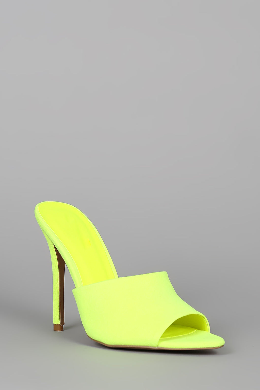 Tease Me - Neon Yellow Stiletto Mule Heels1
