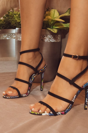 Touch Of Sass - Black Multi Snake Caged Heels