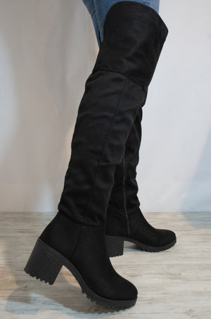 Unmatched - Black Over The Knee Lug Boots