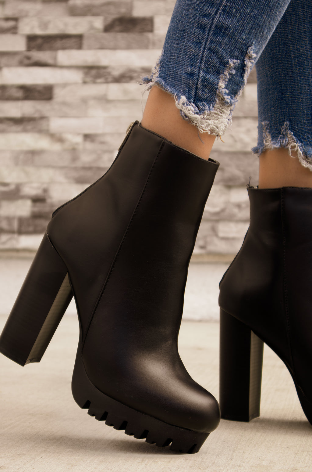 Viper - Black Lug Sole Platform Booties