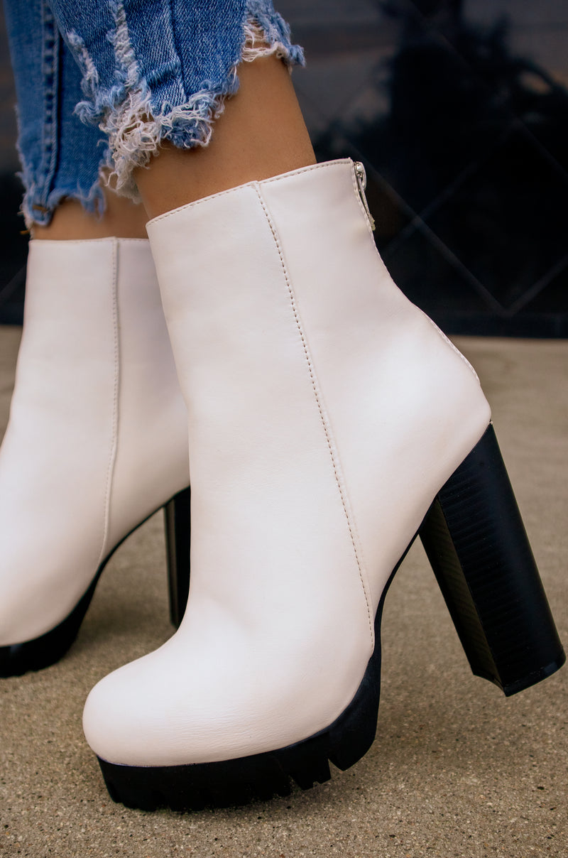 Viper - White Lug Sole Platform Booties