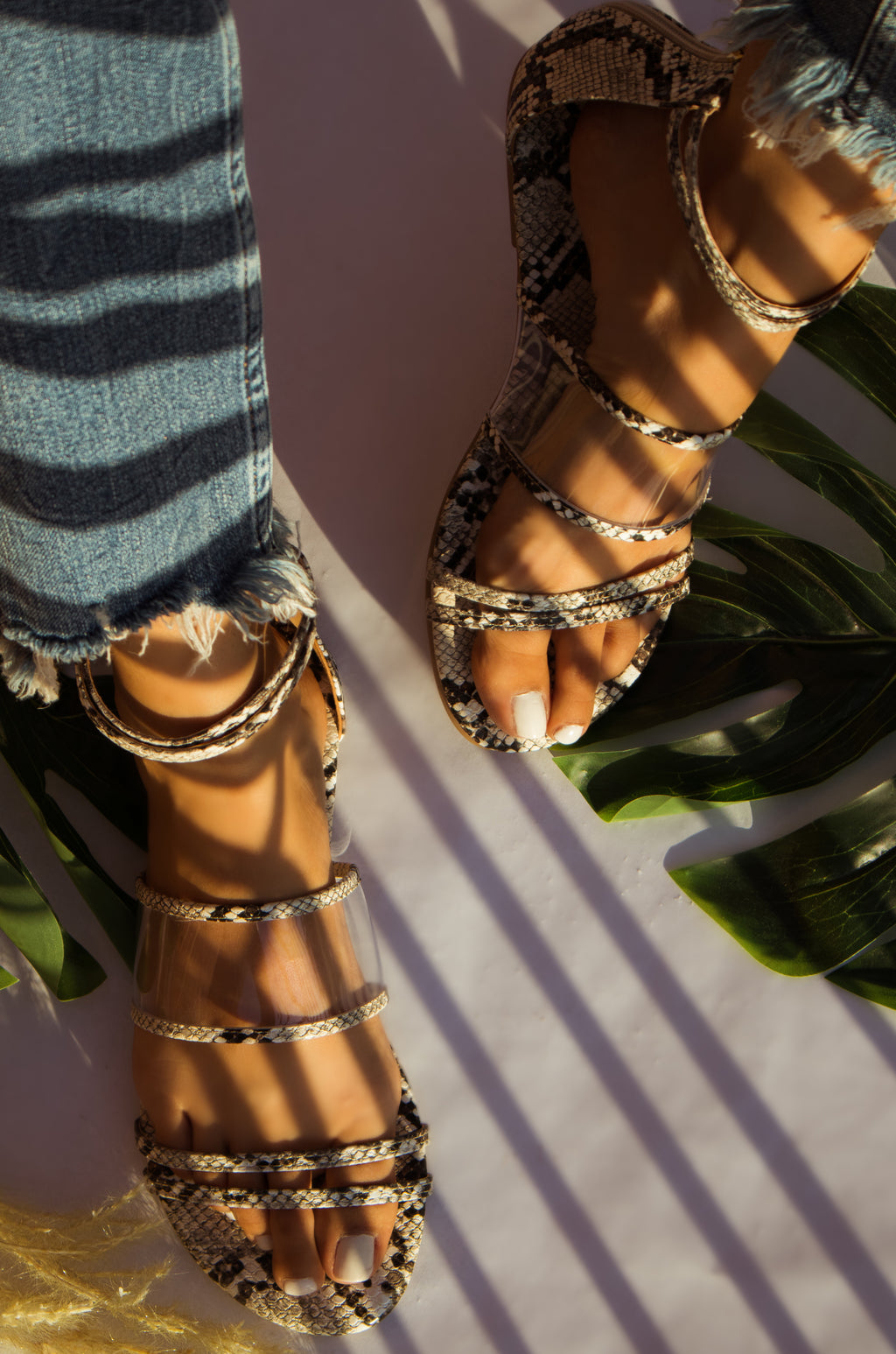 Wanting More - Ivory Snake Sandals