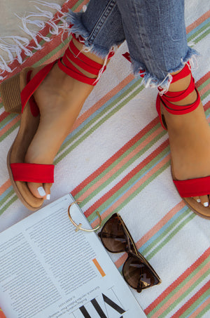 Weekend Getaway - Red Tie Up Sandals