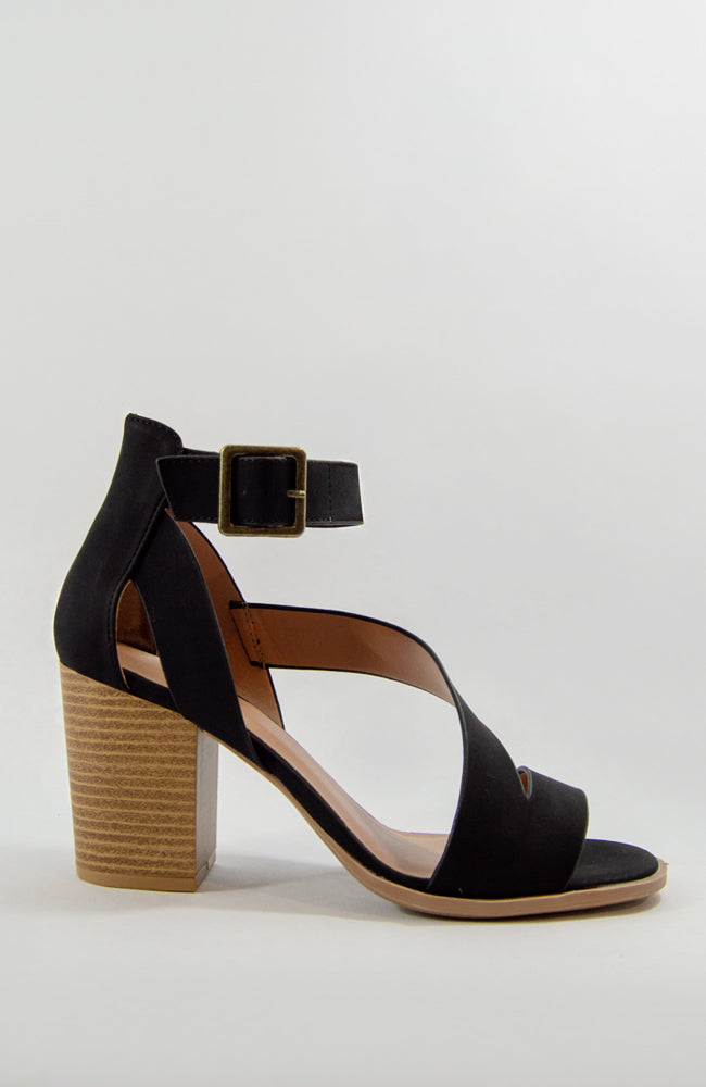 Wild Nights - Black Asymmetrical Chunky Heel