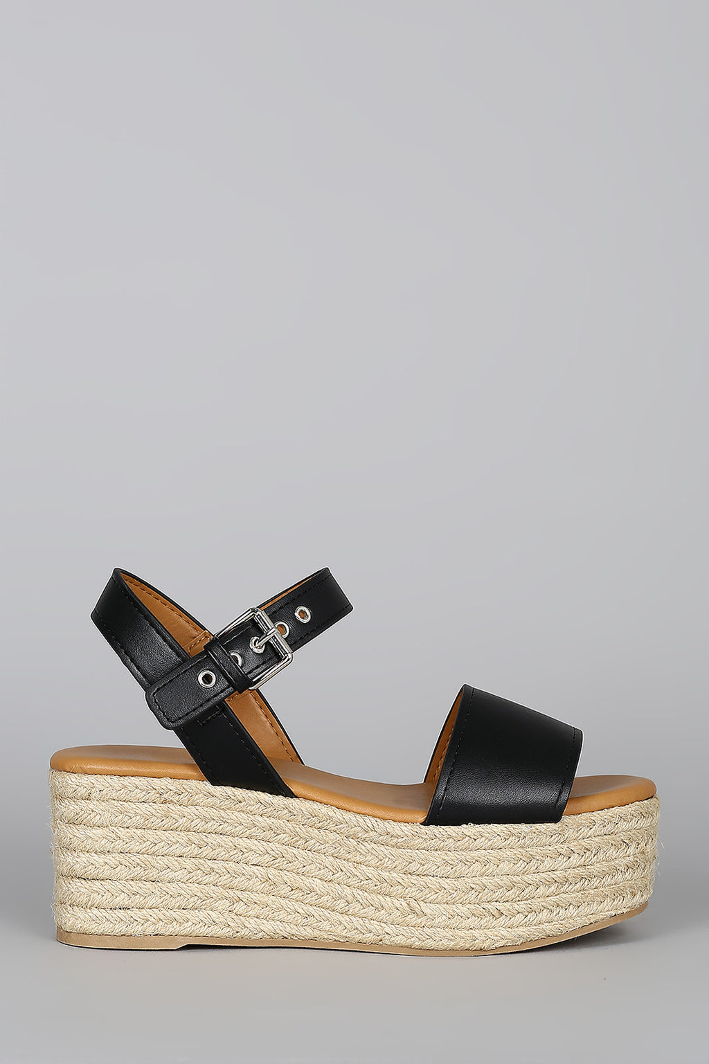Boardwalk - Black Flatform Espadrille Sandals