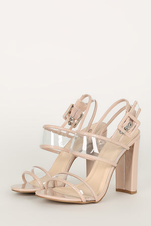 Hissy Fit - Nude Clear Band Heels