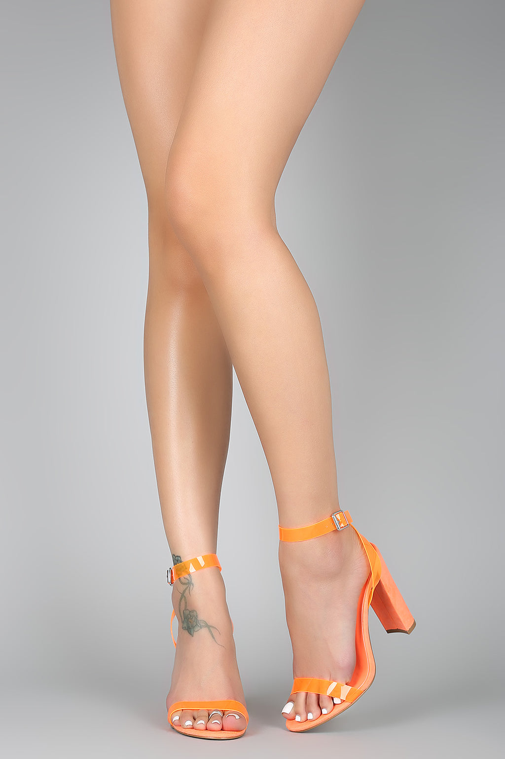So Extra - Neon Orange Ankle Strap Heels