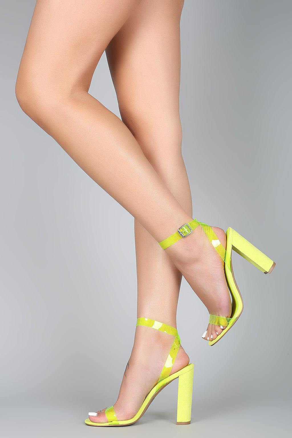 So Extra - Neon Yellow Ankle Strap Heels
