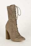 Ransome - Taupe Lace Up Booties