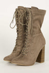 Ransom - Taupe Lace Up Booties