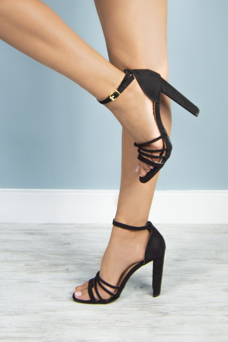 Milan - Black Strappy Heels